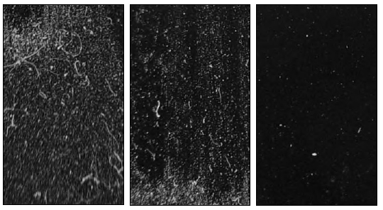 Above is an example of a dirty acrylic film showing two types of cleaning methods. Pictured left to right is the dirty acrylic film, the dry cleaning method and a wet cleaning method.
