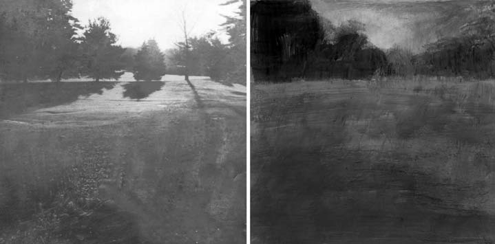 Left: A faint image taken from a photograph and printed on paper. Right: Acrylic paints have been applied over the printed image.