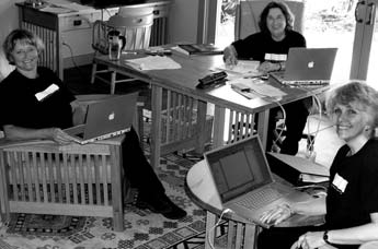 From left to right: Karin Schminke, Bonny Lhotka, and Dorothy Simpson Krause at the Whitley Center on San Juan Island, WA working on the first draft of their book in May 2003.