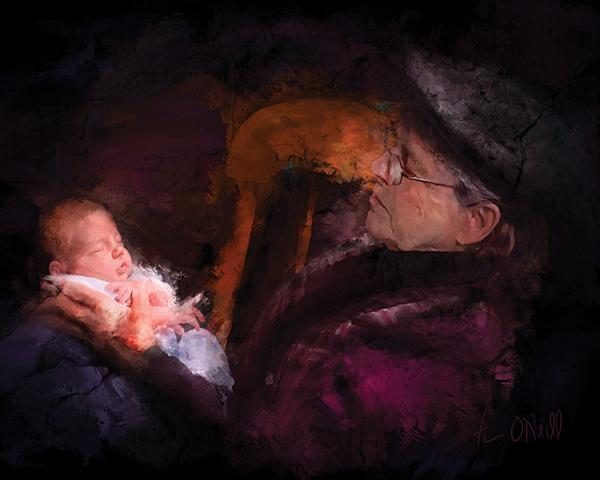 "Tim O'Neill, Grandma ROcks!, Acrylic & Pigment, 45""X30"", 2008"