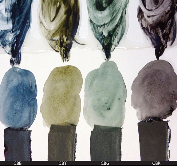 Four Chromatic Blacks showing undertones via thin film, washes and glazes from bottom to the top.