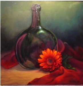 """Barbara Dickerson, """"Antiques and Flowers"""", 2008, 12"""" x 12"""", oil"""