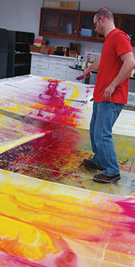 High Flow Acrylics work exceptionally well for large fields of color right from the bottle.