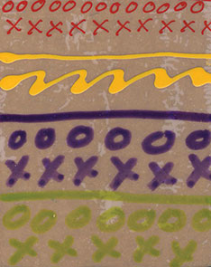 Naphthol Red Crow Quill, Diarylide Yellow Fine Tip Applicator, Ultra. Violet and Green Gold markers on Polyester Film