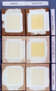Discoloration of gel medium caused by components in the canvas being absorbed by the wet gel medium. The linen and cotton canvas (left) was washed before applying the gesso and gel medium. Approximately 1/8 inch thick.