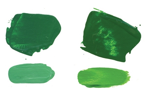 Phthalo Green Blue Shade mixtures made with Hansa Yellow Light and Hansa Yellow Medium
