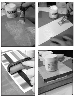 Top left: Seal paper and canvas surfaces with Soft Gel; allow to dry. Top right: Apply thin coat Soft Gel as glue layer. Bottom left: While gel is wet, lay print evenly onto canvas. Bottom right: Carefully place weight on print to prevent buckling; allow to dry.