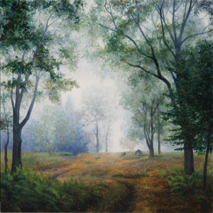 "Fog on the overlook, after sunrise in early September (series: in the woods), acrylic on gessoed hardboard, 12"" x 12"""
