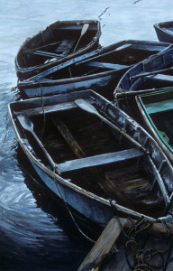 "Winter Harbor, Rowboats at Sunset (Series: Maine, Winter Harbor and Schoodic Peninsula), transparent watercolor on cold presses watercolor paper, 26 3/4"" x 17 5/8"""