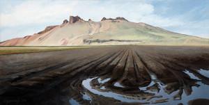 "Afternoon shadows on the Peninsula in October (series: Tulelake / Lava Beds), oil on gessoed hardboard, 12"" x 24"""