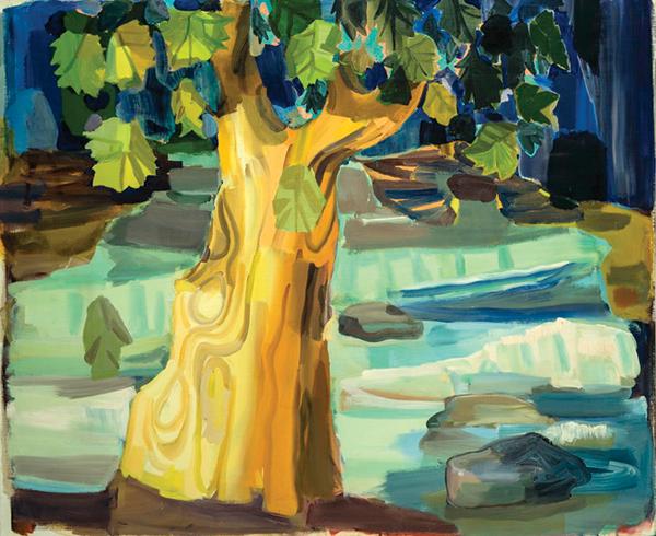 """Judith Linhares, Tree, 1996, 42"""" x 51"""" ©Judith Linhares, 1996"""