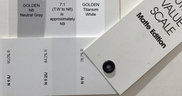 Image 1 - Showing a side by side drawdown of GOLDEN N8 Neutral Gray, Titanium White, and between them, a 7:1 blend of GOLDEN Titanium White to GOLDEN N8 Neutral Gray. The scale shown underneath is an official Munsell® Neutral Value Scale, Matte Edition.