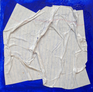 Bas relief paper collage made with thin notebook paper stiffened with GAC 400.