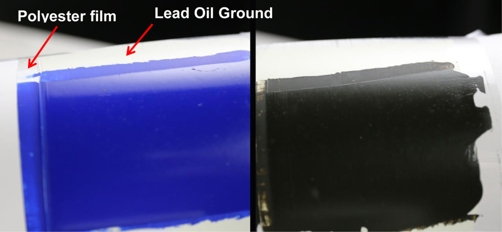 Thickness of paint and different sheens on oil grounds