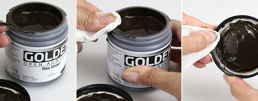 Remove dried or wet paint from the threads of the jar and lid.