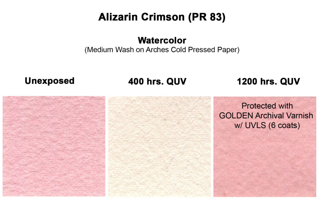 aliz-crimson-qor-wc-med-wash-unexposed-vs-400-quv-vs-1200-quv-varnished-copy