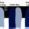 Comparison of Williamsburg's Cobalt Blue Deep. Cobalt Blue, and a trial batch of YInMn Blue