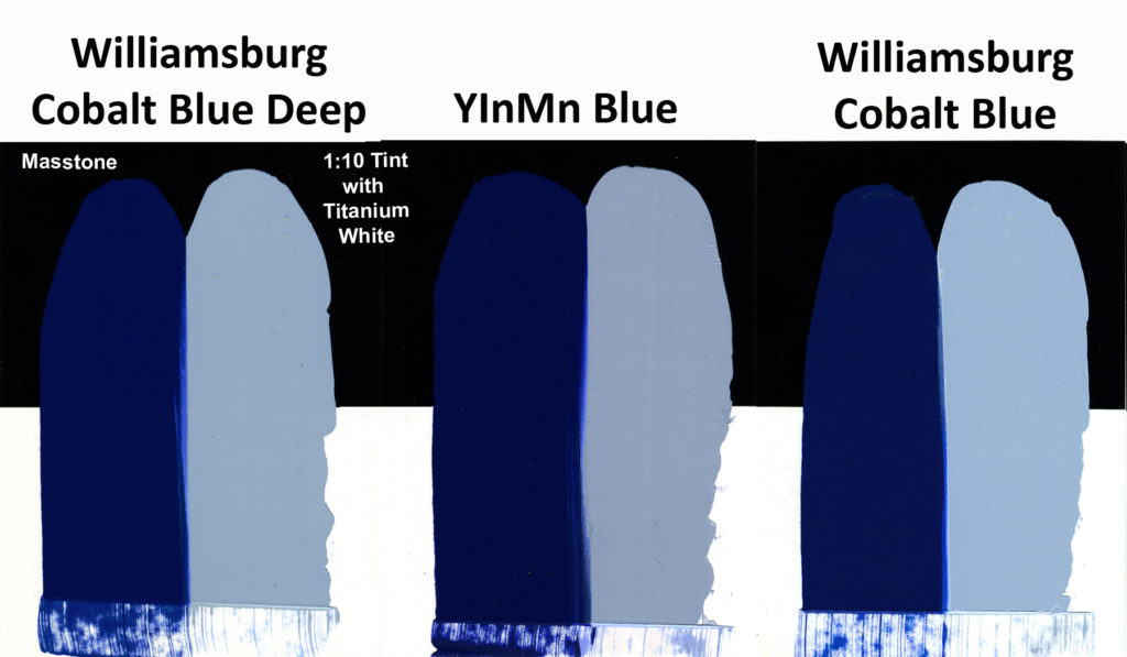 Comparison of Williamsburg's Cobalt Blue Deep. Cobalt Blue, and a trial batch of YInMn Blue