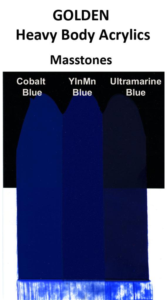 Comparison of GOLDEN Heavy Body Cobalt Blue, Ultramarine Blue, and a trial batch of YInMn Blue