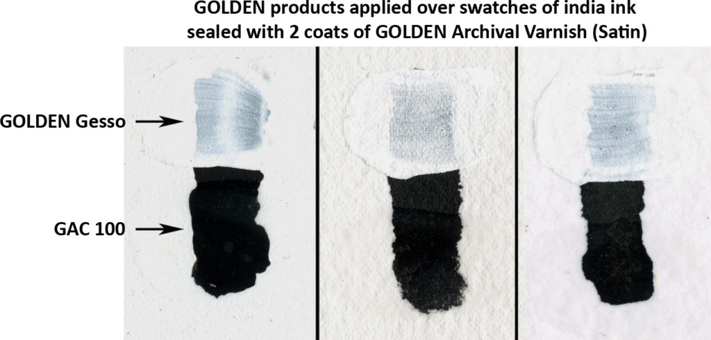 Golden products applied over india ink coated with 2 coats of Archival Varnish