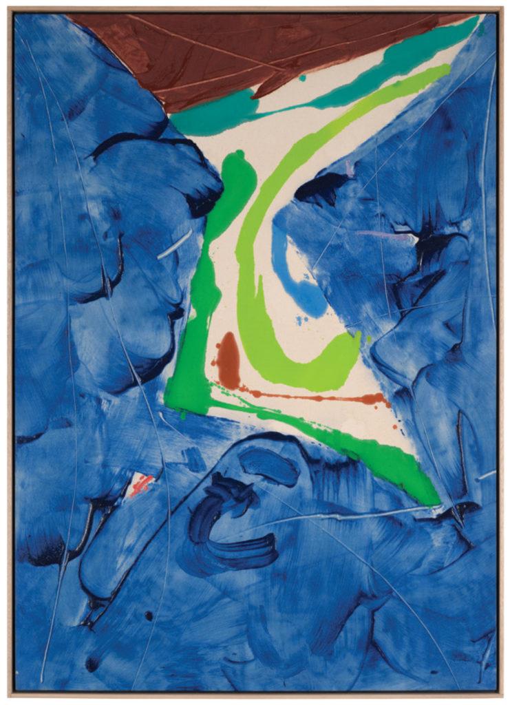 "Blue Ladder, 1980, Acrylic on Canvas, 64 1/2"" x 46"" © Kikuo Saito"