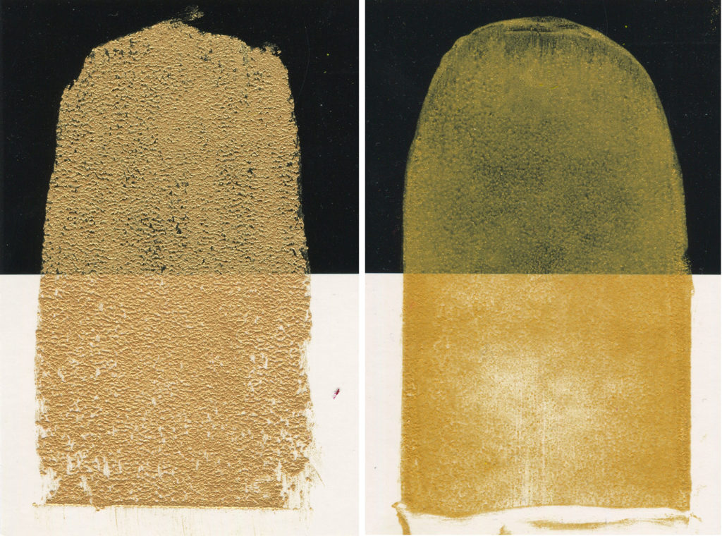 (Left) Iridescent Pale Gold (Right) Iridescent Pale Gold thinned with Odorless Mineral Spirits