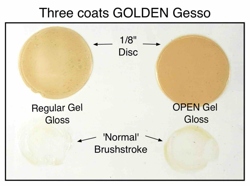 """OPEN and Regular Gel applied 1/8"""" and brushstroke thick over three coats of Golden Gesso on hardboard panel."""