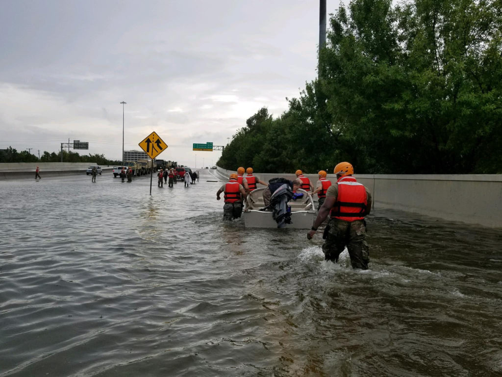 Texas National Guard soldiers arrive in Houston to aid residents in heavily flooded areas from the storms of Hurricane Harvey, Aug. 27, 2017. Texas Army National Guard photo by 1st Lt. Zachary West