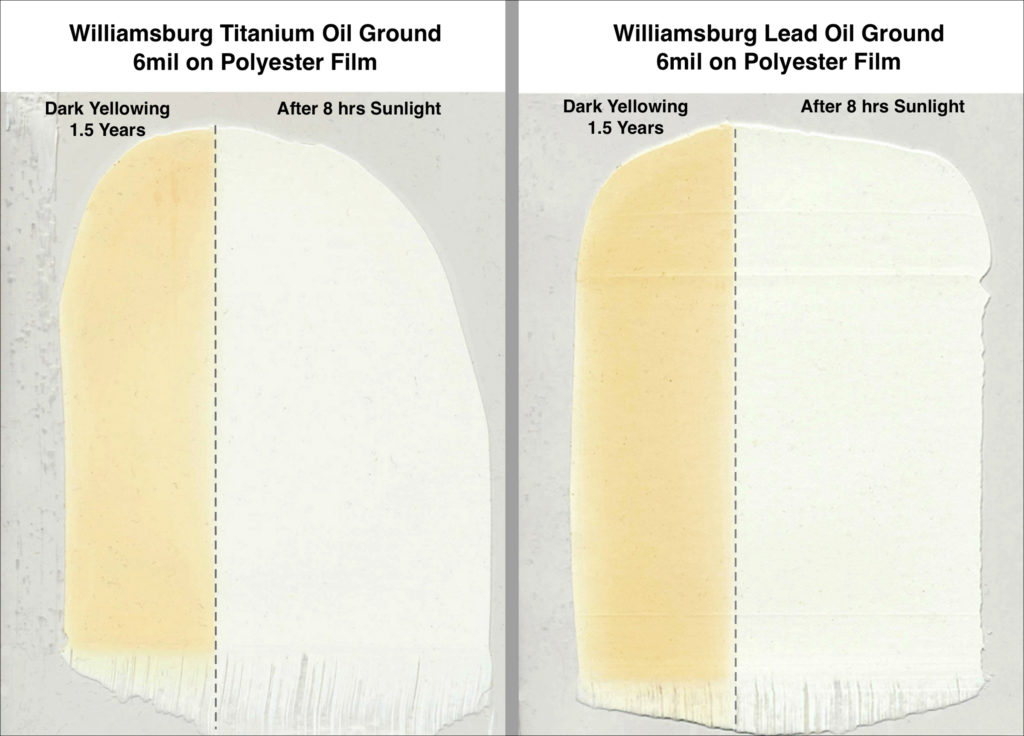 Williamsburg Lead and Titanium Oil Grounds -Dark Yellowing for 1.5 Years then Exposed to Sunlight for 8 Hrs