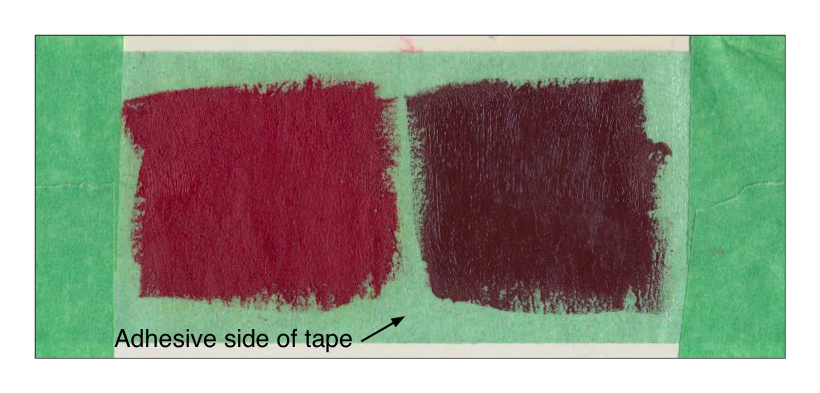 Williamsburg Cadmium Red Medium and Mars Violet painted directly onto the adhesive side of a green painter's tape. Both paints dried glossy