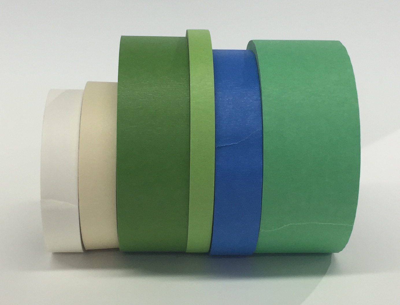 An assortment of different masking and low-tack painter's tapes.