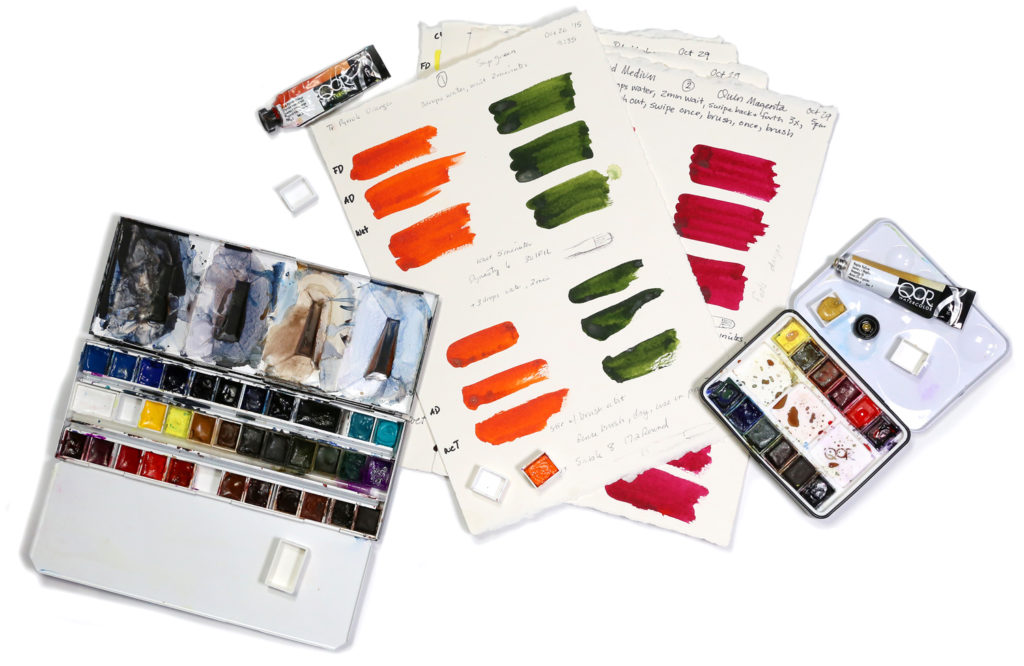 watercolor paint tests and watercolor travel sets