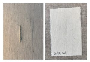 Patch adhered with Soft Gel Glosss on linen canvas, primed with Titanium White Oil Ground, 2 weeks old.
